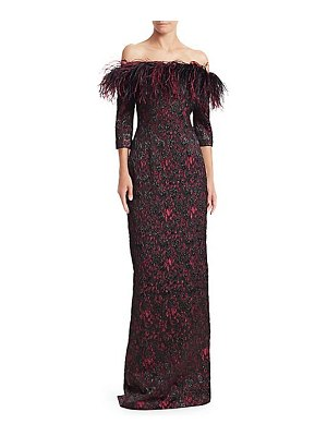 Teri Jon feather-trimmed print gown