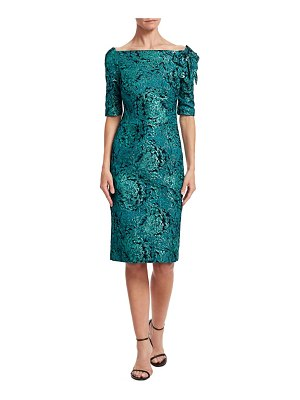 Teri Jon Floral Appliqué Metallic Jacquard Dress