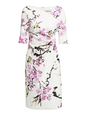 Teri Jon floral asymmetric neckline dress