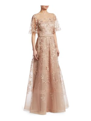 Teri Jon floral embroidered gown