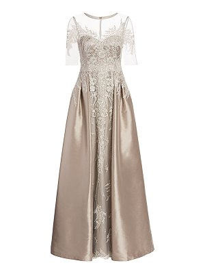 Teri Jon floral lace embroidered tulle & satin a-line gown