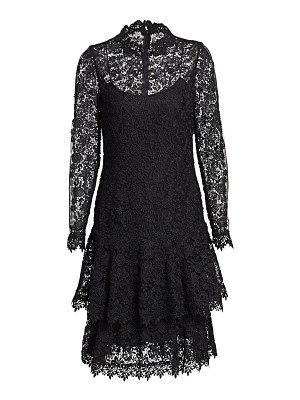 Teri Jon floral lace long-sleeve tiered a-line dress