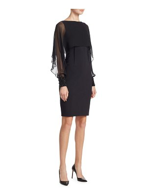 Teri Jon Illusion-Sleeve Cape Dress