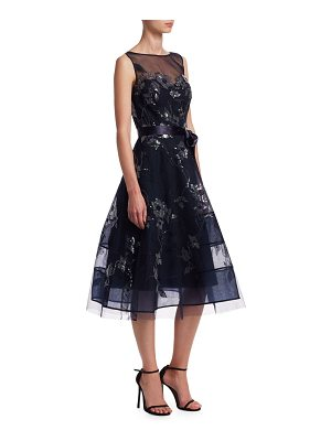 Teri Jon lace applique illusion neckline tulle belt dress