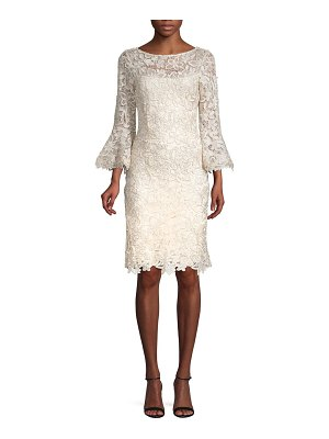 Teri Jon Lace Bell-Sleeve Sheath Dress