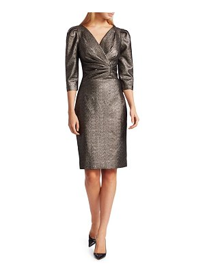 Teri Jon Lamè Metallic Puff Sleeve Sheath Dress