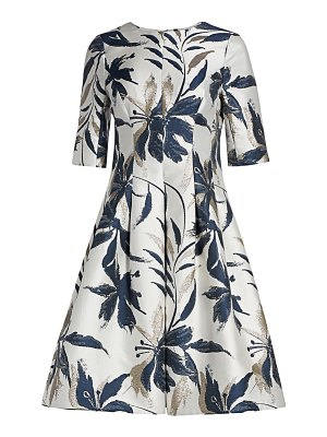 Teri Jon leaf-print jacquard dress