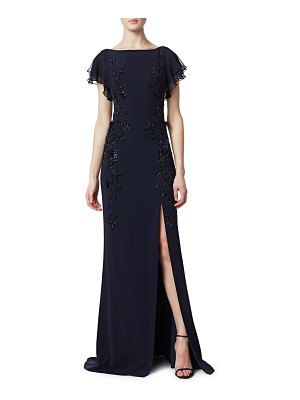 Teri Jon Leg Slit Beaded Crepe Gown