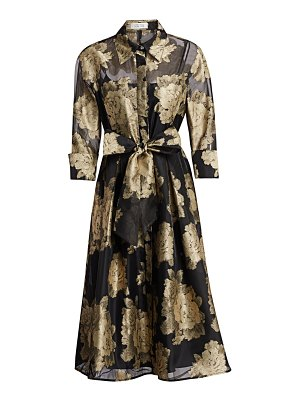 Teri Jon metallic floral tie shirtdress