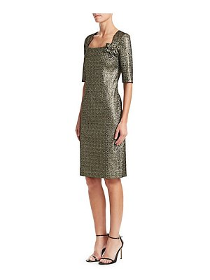 Teri Jon metallic jacquard sheath dress