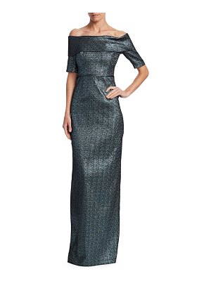 Teri Jon Metallic Off-The-Shoulder Column Gown