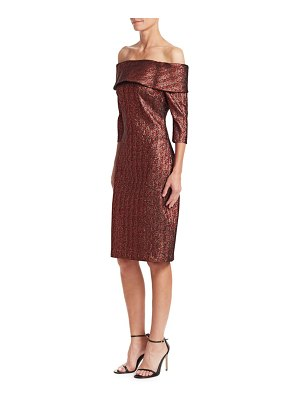 Teri Jon Metallic Off-The-Shoulder Dress