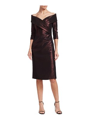 Teri Jon Metallic Portrait Neckline Cocktail Dress
