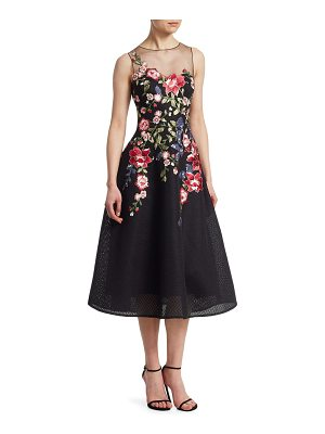 Teri Jon neoprene floral applique dress