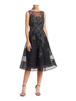 Teri Jon neoprene metallic applique dress