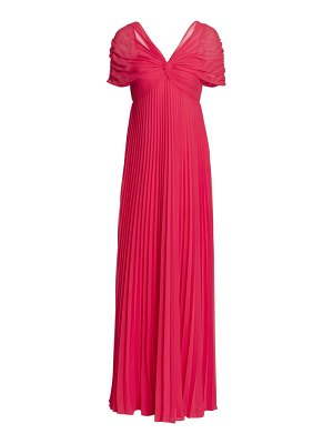 Teri Jon off-the-shoulder accordian pleated gown