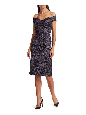 Teri Jon Off-the-Shoulder Animal Print Sheath Dress