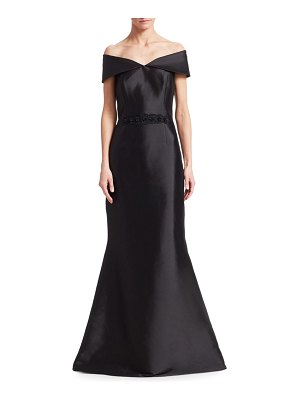 Teri Jon Off-The-Shoulder Embellished Belt Gown