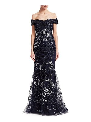 Teri Jon Off-The-Shoulder Embellished Mermaid Gown