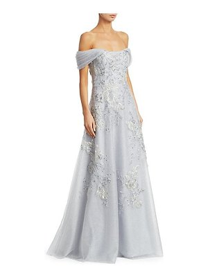 Teri Jon off-the-shoulder floral-embroidered lace & tulle a-line gown