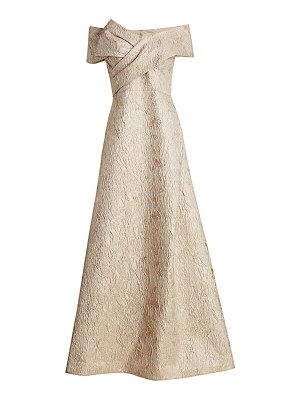 Teri Jon off-the-shoulder jacquard bow gown