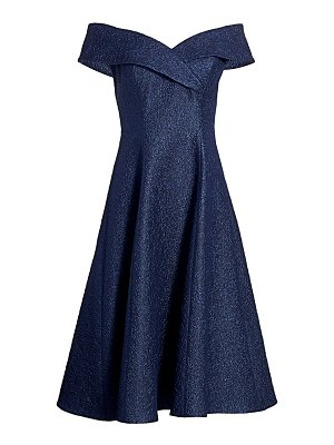 Teri Jon off-the-shoulder jacquard fit-&-flare dress