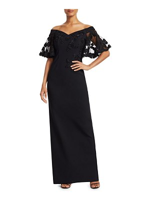 Teri Jon Off-The-Shoulder Lace Column Gown