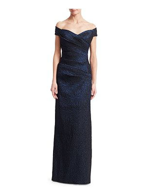 Teri Jon Off-The-Shoulder Metallic Jacquard Column Gown