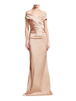 Teri Jon Off-The-Shoulder Ruched Satin Gown