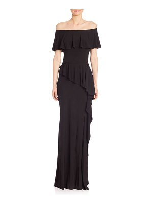 Teri Jon Off-The-Shoulder Ruffle Gown
