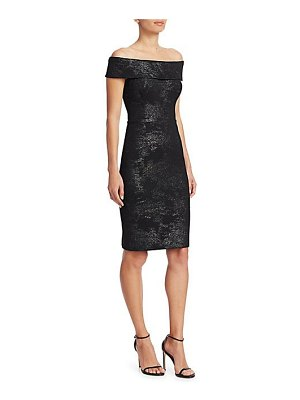 Teri Jon off-the-shoulder stretch metallic jacquard sheath dress