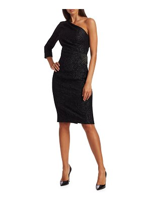 Teri Jon One-Shoulder Beaded Sheath Dress
