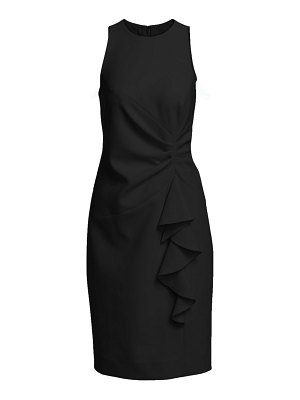 Teri Jon ruched crepe ruffle dress