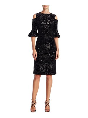 Teri Jon Sequined Cold-Shoulder Dress