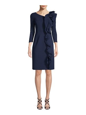 Teri Jon Three-Quarter Ruffled Sheath Dress