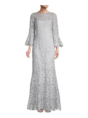 Teri Jon Three-Quarter Sleeve Lace Trumpet Gown