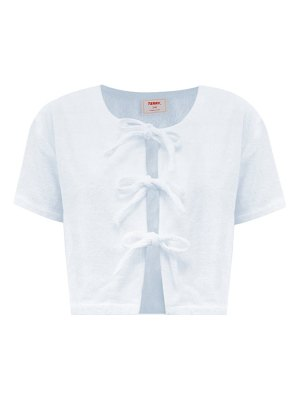 Terry tie-front cotton-terry blouse