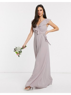 TFNC bridesmaid ruffle detail maxi dress with thigh split in gray