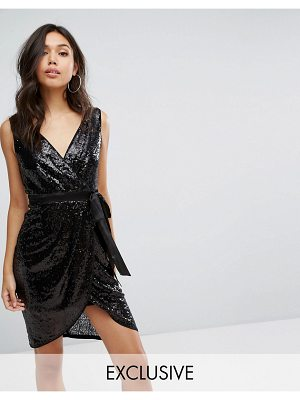 TFNC Wrap Front Sequin Midi Dress With Satin Waist Band