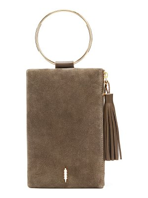 THACKER nolita ring handle suede clutch