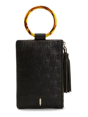 THACKER nolita tortoiseshell ring handle leather clutch