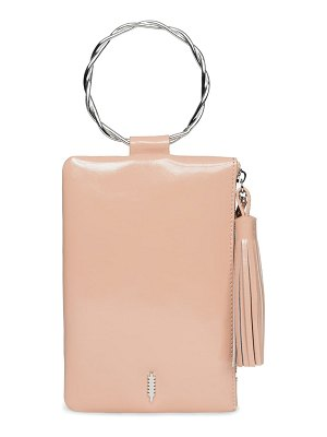 THACKER nolita twisted ring handle leather clutch