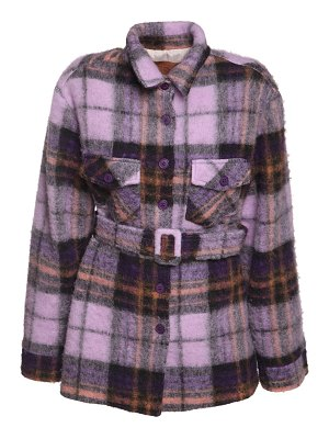 The Andamane Evita oversize belted flannel jacket