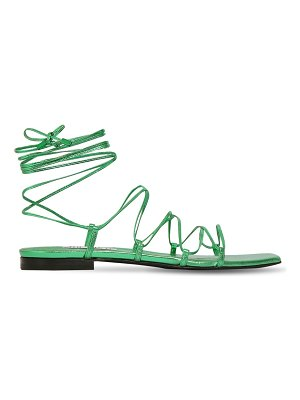 The Attico 10mm metallic leather lace up sandals