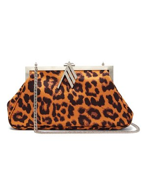 The Attico alma crystal-embellished leopard-print bag