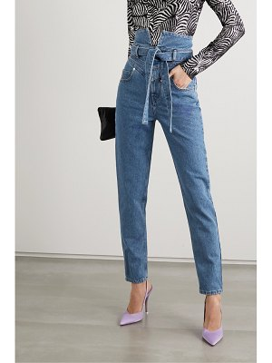 The Attico belted high-rise straight-leg jeans