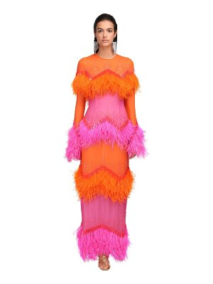 The Attico Crepe dress w/feathers & sequins