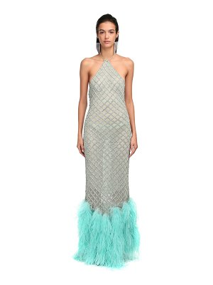 The Attico Crystal net & ostrich feather dress