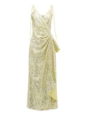 The Attico gathered sequinned wrap dress