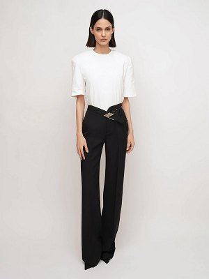 The Attico High waist wool blend belted pants